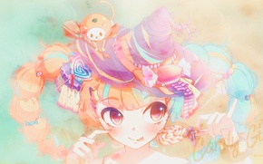 Picture language, being, hands, candy, Halloween, Lollipop, vocaloid, Halloween, Hatsune Miku, Vocaloid, big eyes, witch hat