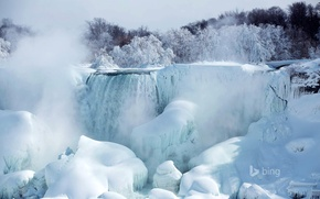 Picture snow, ice, trees, American falls, Ontario, Niagara, Canada, river