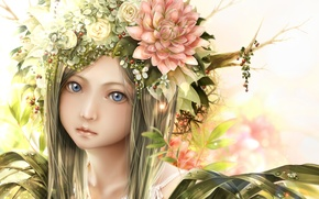 Picture girl, drops, flowers, face, branch, anime, art, bouno satoshi