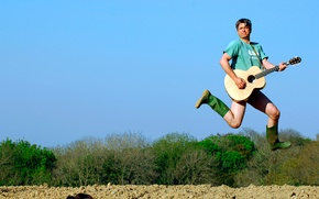 Picture jump, guitar, male, a man with a guitar