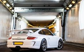 Picture white, 911, 997, Porsche, the tunnel, white, Porsche, gt3, tunnel, back