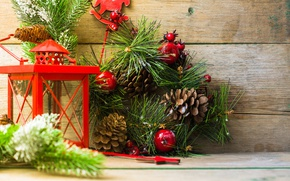 Picture branches, holiday, Board, new year, Christmas, spruce, lantern, wreath, bumps, pine, decoration
