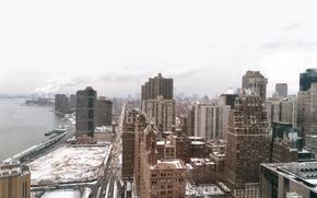 Picture USA, United States, Manhattan, NYC, New York City, winter, skyscraper, snow, buildings, skyscrapers, America, United …