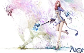 Picture girl, magic, the game, Aion