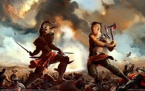 Picture clouds, weapons, blood, warrior, art, rage, crows, battle, the fight, simon robert