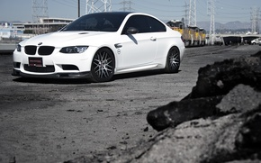 Picture white, the sky, yellow, bmw, BMW, train, white, wheels, cars, train, e92, power line