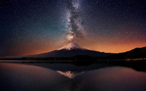 Picture mountain, the volcano, reflection, New Zealand, lake, night, the milky way, Taranaki, stars