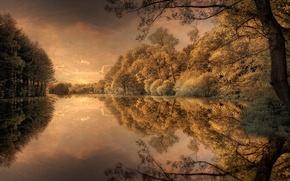Picture autumn, nature, river, photoshop, treatment, picture