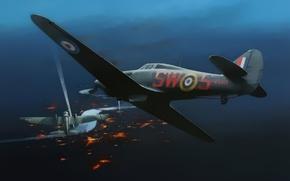 Picture war, art, painting, aviation, drawing, ww2, Hurricane Mk.IIC, Heinkel 111