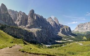 Wallpaper valley, rocks, summer, Val Gardena, trees, panorama, The Dolomites, road, mountains, Italy, Val Gardena, Alps, ...