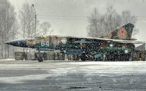 Picture winter, fighter, Parking, the plane, snowfall, the MiG-23