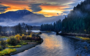 Picture sunset, nature, river, Sunrise, Idaho, Swan Valley