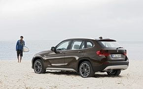 Wallpaper sea, cars bmw, people, machine, guy, beach, sand