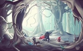Picture forest, trees, art, crank, desktopography