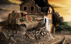 Picture house, war, the building, Panther, art, tank, Germany, war, Sherman, Panther vs. Sherman