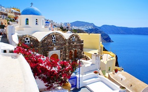 Picture sea, landscape, nature, home, Santorini, Greece