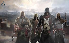 Picture gun, sword, axe, art, assassins, Assassin's Creed: Unity