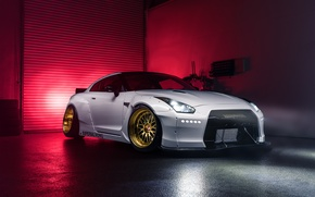 Picture Imperial, Light, Nissan, GT-R, Front, White, Garage, Works