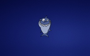 Picture blue, smile, minimalism, shark, shark, toothy
