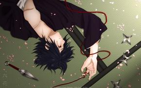 Picture petals, naruto, red thread, kunai, uchiha sasuke, shuriken