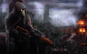 Picture the storm, house, weapons, rain, fire, flame, ambush, destruction, soldiers, cloak, stalker, Stalker, with.t.and.l.to.e.r., ambush
