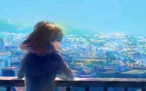 Wallpaper girl, the city, back, home, anime, art, heriki, trkj