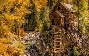 Picture autumn, mountains, house