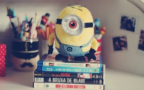 Picture eyes, photo, background, Wallpaper, mood, toy, books, pencils, handle, owner, pencil