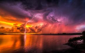 Picture sunset, zipper, Psychadelic Lightning