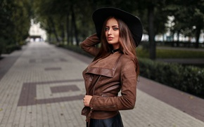 Picture girl, trees, Park, hat, makeup, jacket, hairstyle, brown hair, alley, bokeh