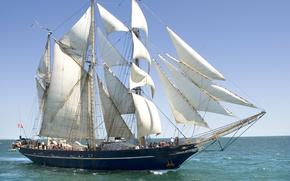 Picture sea, ship, Australia, sails, rigging, three-masted, Lioness-II, barkentina, gorgeous