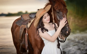 Picture smile, horse, horse, hat, Asian