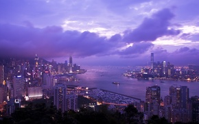 Picture the sky, clouds, Hong Kong, skyscrapers, the evening, lighting, panorama, Bay, China, lilac, Braemar Hill, …