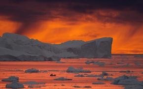 Picture twilight, sea, ocean, sunset, dusk, boat, fisherman, iceberg, Greenland, ice floes