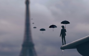 Wallpaper roof, drops, rain, Paris, umbrella, male
