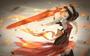 Picture girl, weapons, fire, magic, sword, anime, art, valkyrie, tsuru any noki, puzzle and dragons
