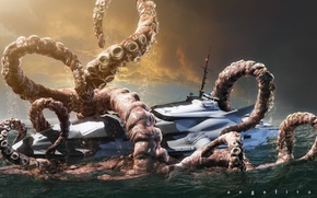 Picture boat, octopus, boat, giant, the new nautilus