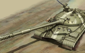 Picture war, art, painting, tank, T-10M
