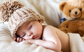 Picture hat, toy, child, baby, bear, bear, toy, bear, baby, cute, sleeping, sleep, Teddy