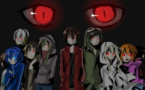 Picture gang, red eyes, snake eyes, Kagerou Project, obsessed, Haruka, tracksuit, Damone