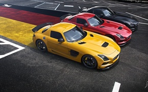 Picture Mercedes-Benz, German, Red, AMG, Black, SLS, Yellow, Widescreen, Flag, Supercar, Black Edition, Asphalt
