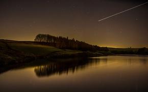 Wallpaper night, the sky, stars, trees, river, landscape