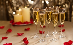 Picture petals, holiday, candles, glasses, red, champagne, rose
