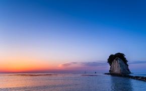 Wallpaper sea, rock, the sky, tide, the evening