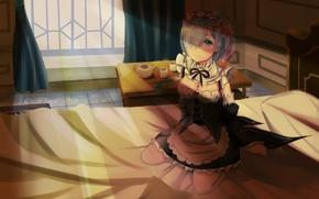 Picture girl, the demon, sitting, anime, the maid, art, Rem, Re: Zero kara hajime chip isek …