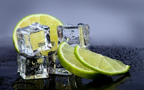 Picture cubes, ice, lime