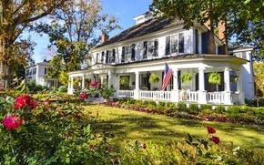 Picture trees, flowers, house, lawn, garden, CA, USA, Sunny, the bushes, estate, Santa Clarita, Santa CLARITA