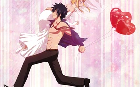 Wallpaper fairy tail, art, guy, balloons, lucy heartfilia, anime, milady666, tale of fairy tail, girl, gray ...