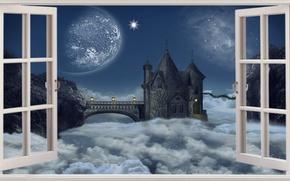 Picture Fantasy, Clouds, Castle, Window, Heavens