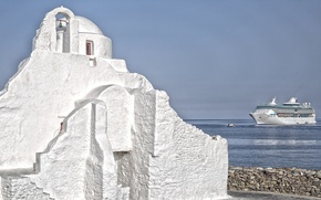Picture sea, ship, Greece, Church, the sky, liner, Mykonos island